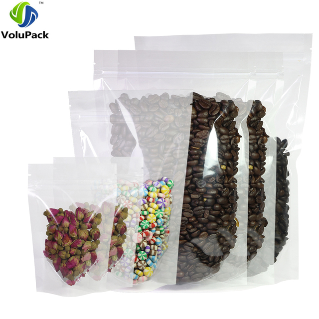 Various Sizes 100pcs Recyclable Hdpe Transpa Mylar Stand Up Package Bag Pouches Clear Plastic Storage