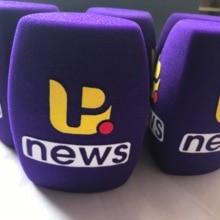 Linhuipad с принтом логотипа, треугольный фиолетовый микрофон для интервью, ветровое стекло, ручное ветровое стекло, внутренний диаметр: 4 см (около 1,57 дюйма)