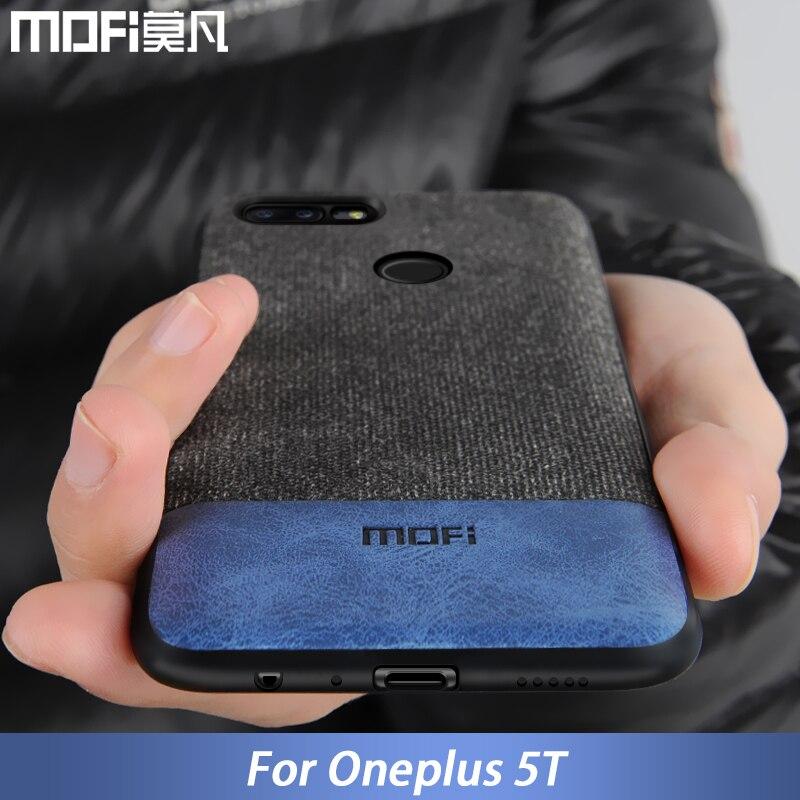 Oneplus 5 t caso capa um plus 5 t voltar capa de silicone borda homem negócios tecido à prova de choque caso coque mofi oneplus 5 t