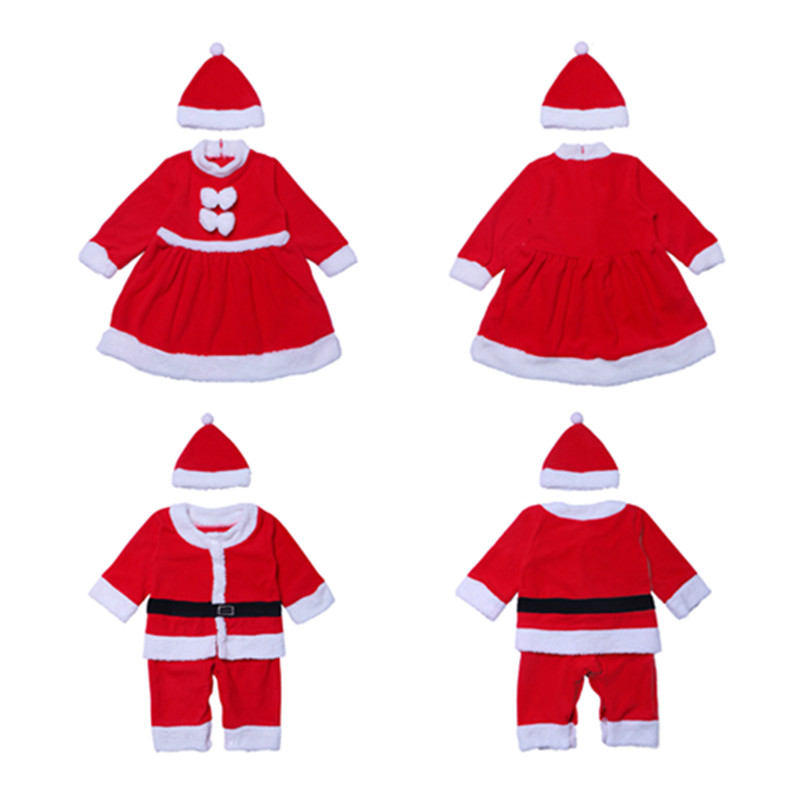 Toddler Christmas Costume For Kids baby Santa Claus Cosplay girls boys Red Dress Top Pants Hat  Christmas Uniform Suit Child