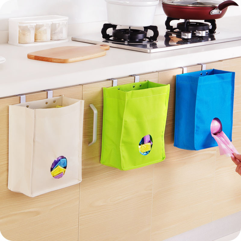 Creative Storage Bag Sundries Disposable Bag Organizer Trash Can Storage Hanging Rubbish Holder Oxford Kitchen Accessories