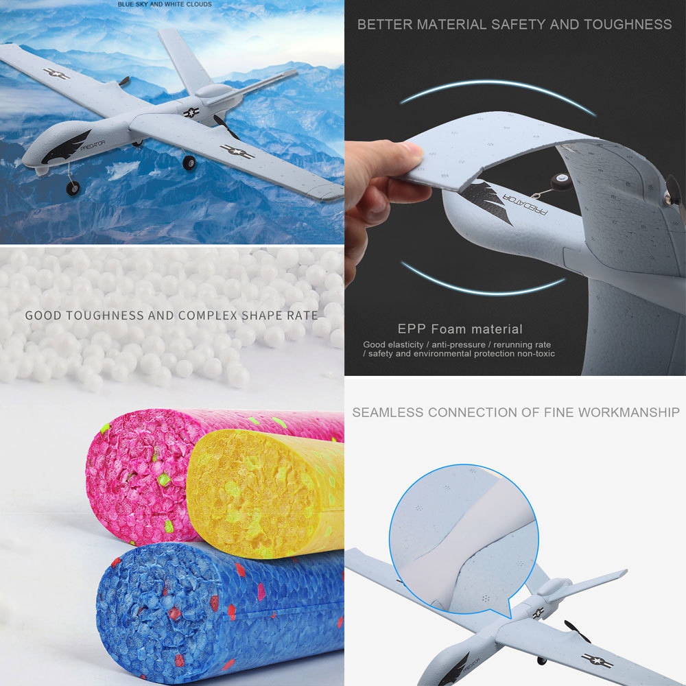 Image 4 - RC Airplane Plane Z51 20 Minutes Fligt Time Gliders 2.4G Flying Model with LED Hand Throwing Wingspan Foam Plane Toys Kids Gifts-in RC Airplanes from Toys & Hobbies