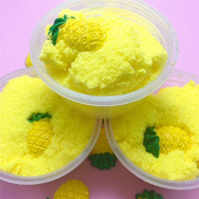 60/100/120ml Squishy Scented Fluffy Slime Mud Floam Sludge Pineapple Charm Toy For Child Cloud Clay Playdough Stress Relief Toy