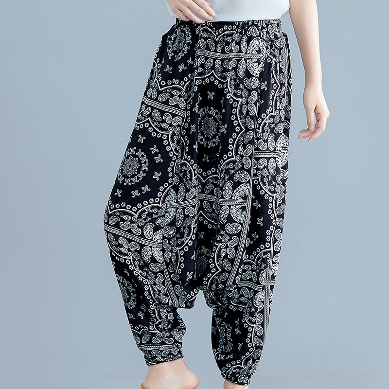 ba3da974d Pantalones de mujer pantalones de verano de algodón de seda de pierna ancha  Harem de moda holgado ...