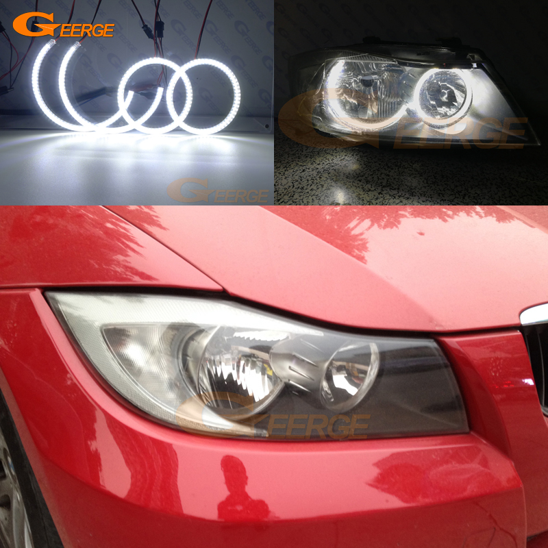 For BMW E90 E91 323i 325i 328i 328xi 330i 335i 2005-2008 Halogen headlight Ultra bright illumination smd led Angel Eyes kit for bmw e36 318i 323i 325i 328i m3 carbon fiber headlight eyebrows eyelids 1992 1998