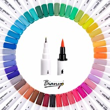 Bianyo New Watercolors Colored Markers Sta 48 Colors Marker Art Pens Sketch Copi Drawing Pen For Stationery School Supplies black card white highlight marker pens art hand painted pen sketch pens for diy drawing graffiti art supplies school stationery