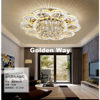 Newly D80cm Stainless Steel Modern Ceiling Lamps K9 Crystals LED Floral Crystal Ceiling Lights For Dining