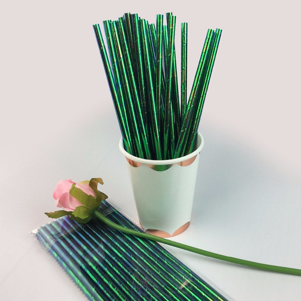 Paper Straws Green Fine Stripes For Party Birthday Wedding 25Pcs Biodegradable