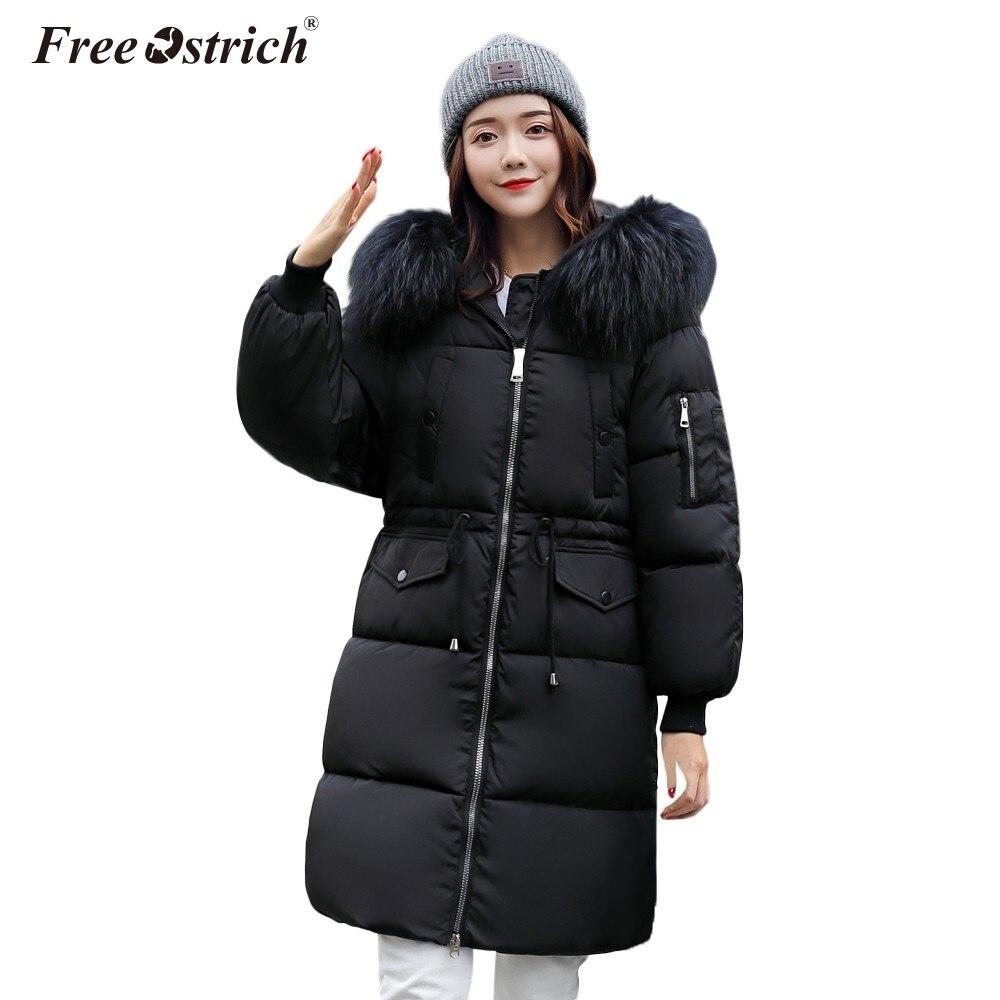 la mejor actitud fb7e2 dce99 US $28.04 37% OFF|Free Ostrich Parkas De Pluma Mujer Hooded Button Pockets  Faux Fur Zipper Warm Abrigos Mujer Invierno 2019 Winter Coat Women N30-in  ...