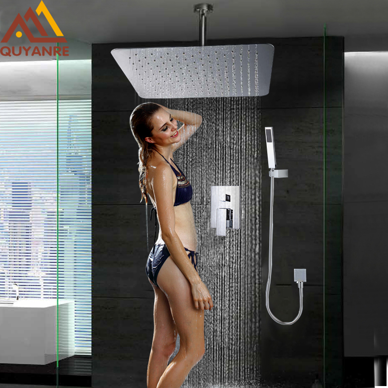 Concealed Luxury Celling Mounted 8 / 10 / 12/ 16 Square Rainfall Bathroom Bath Shower Faucet Tap Handheld Shower Mixer Tap free shipping polished chrome finish new wall mounted waterfall bathroom bathtub handheld shower tap mixer faucet yt 5333