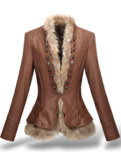 LXUNYI Winter Womens Leather Coat With Button Faux Fur jacket Fashion Short Slim Warm Faux leather jackets Women Orange Coffee 4