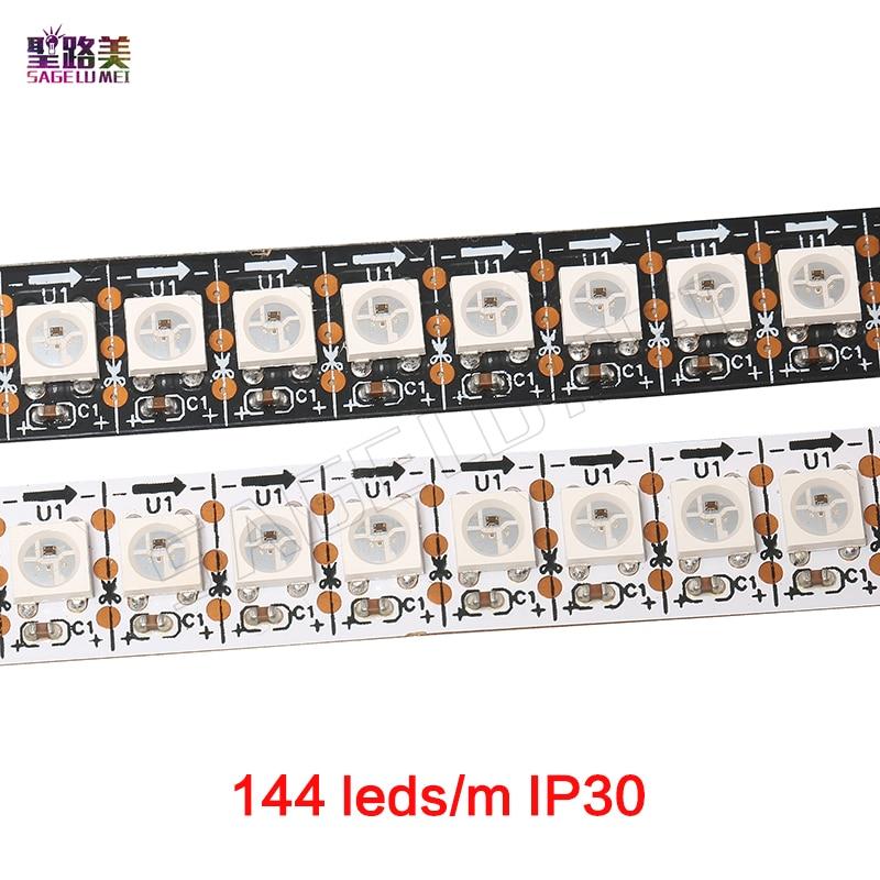 1m 5m IP30/65/67 DC5V WS2812B WS2812 Led Pixel Strip Individually Addressable Smart RGB Led Strip Light Tape Black White PCB