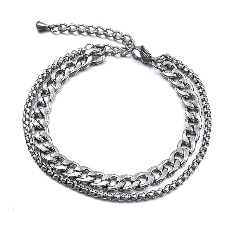 Silver Color Stainless Steel Beach Anklet For Women Accessories Summer Men Ankle Bracelet On Leg Chain Foot Jewelry Part Gift