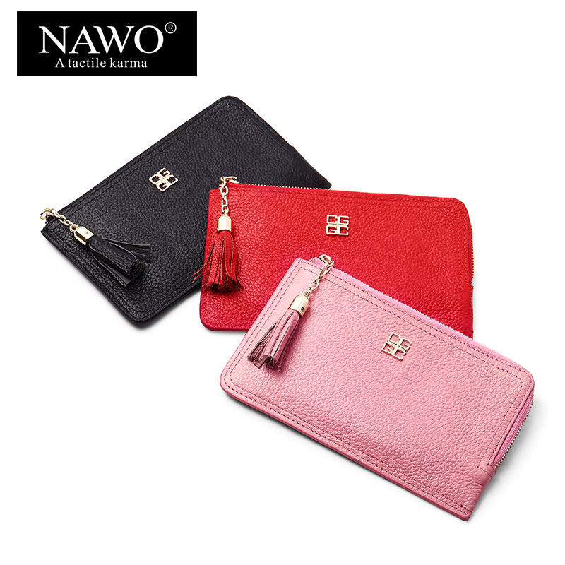 NAWO Cow Genuine Leather Women Wallet High Quality Long Tassel Female Purse Card Holder Fashion Slim Wallet Ladies Purse Clutch 2016 new high quality ladies purse fashion women bifold leather clutch card holder purse long handbag female long section wallet