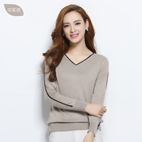 spring autumn wool blended sweater women's pullover V Neck long sleeve jumpers lady knitted tops