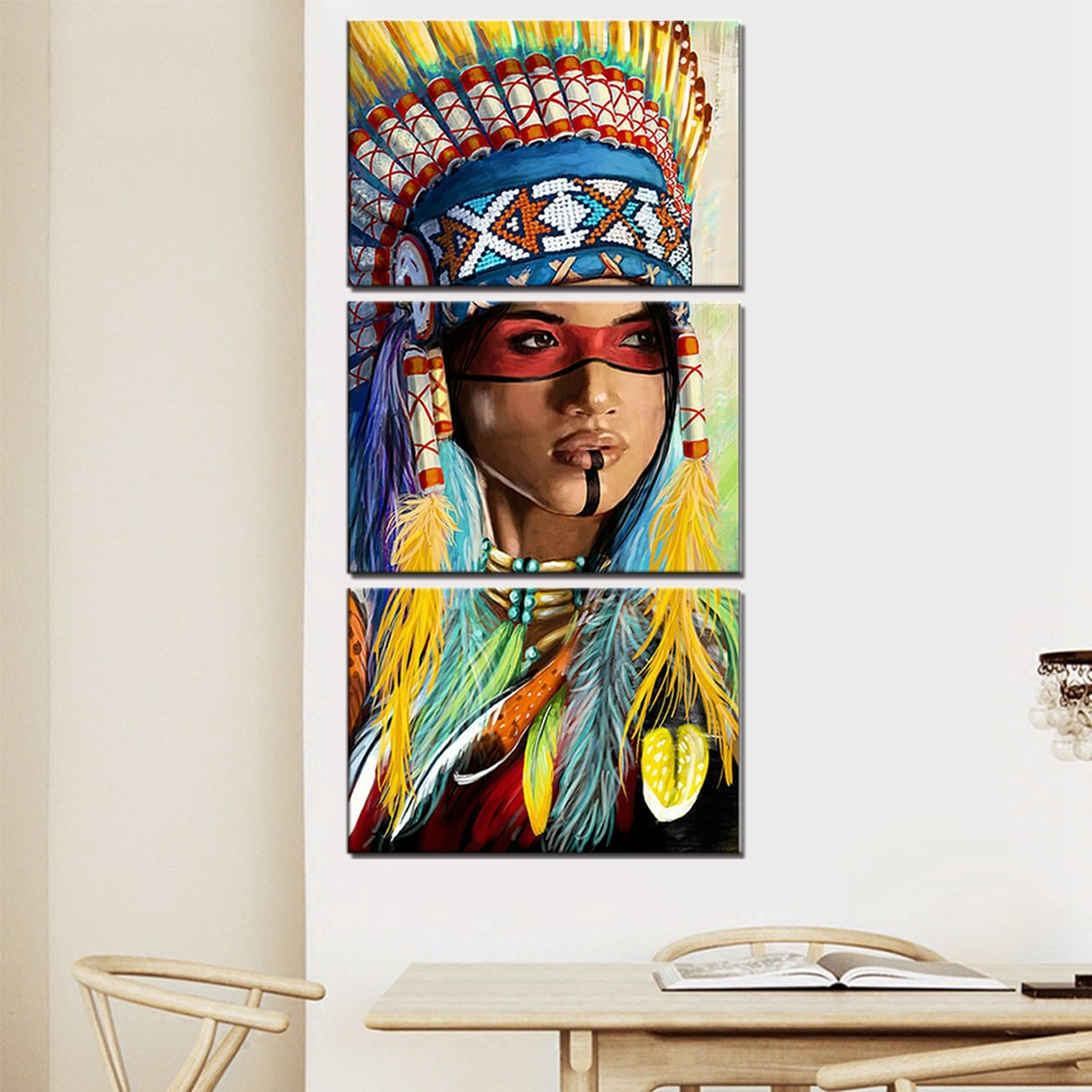 Art Canvas Painting Native American Indian Feather Print