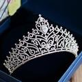 New Arrival Magnificent Zircon crown Tiaras Fashion Noble azorite Diadem for Bride princess headbands Wedding Hair accessories