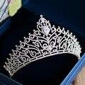Nova Chegada Magnífico Zircon crown Tiaras Moda Nobre azorite Diadema para a Noiva princesa headbands acessórios Do Cabelo Do Casamento