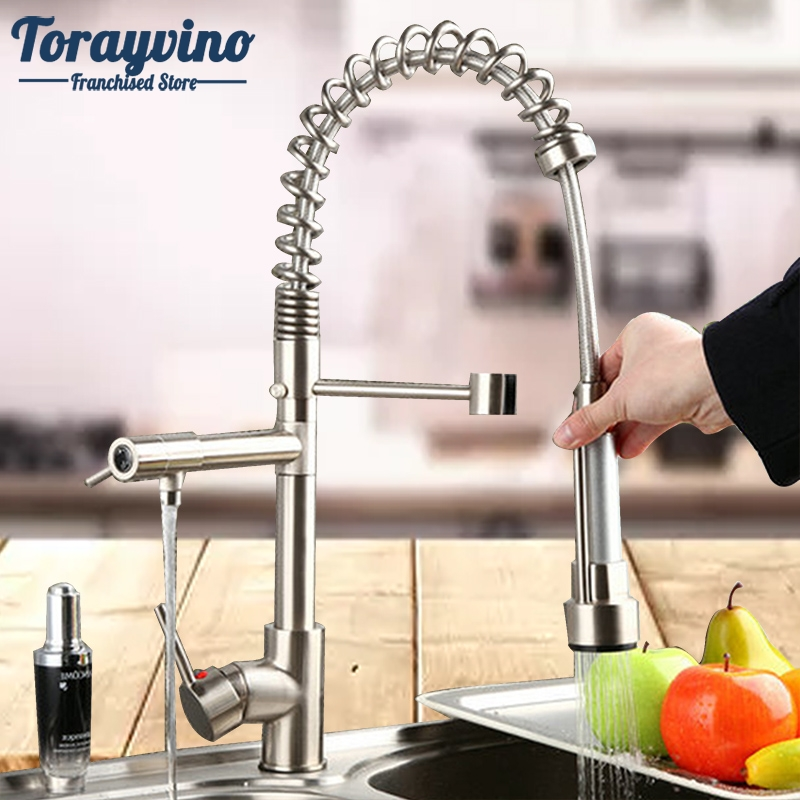 Kitchen Faucet Pull Out & Down Spray Rotated Kitchen Sink Brass Mixer Tap Swivel Nickel Brushed Faucet Double Spout Tap brushed nickel pull out down swivel 360 cover plate hose 923485720 deck kitchen sink faucet torneira cozinha faucets mixer tap