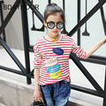 Sweet Cartoon Hamburger Prints Long Sleeves O-Neck Stripes Casual Girls T-Shirts2017New Spring Cotton White Striped Girl T-Shirt