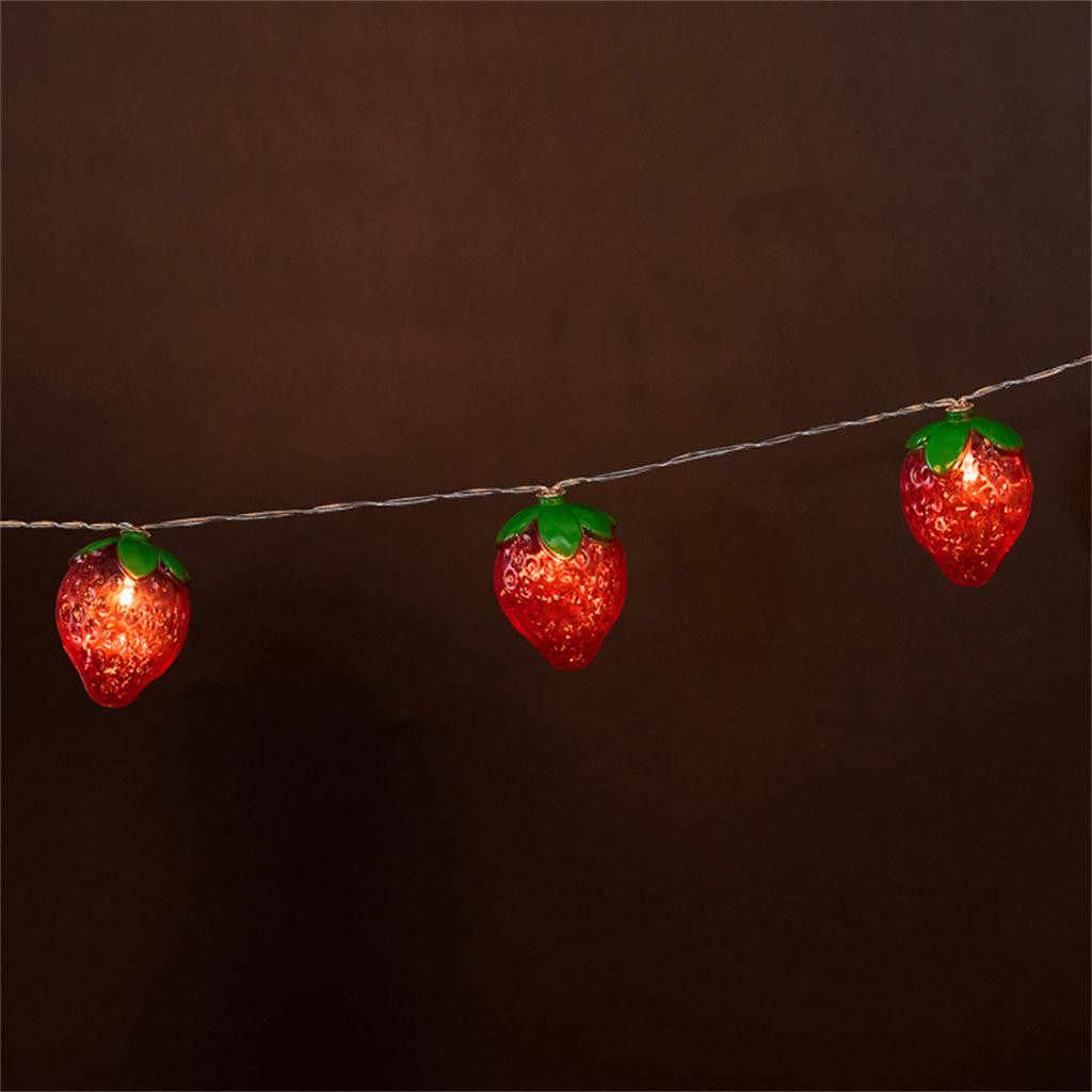 Cute Red Strawberry Fruit Light String Children's room Decoration Lamp 10LED Lamps Lighting Shine Energy Saving INS Night Lights