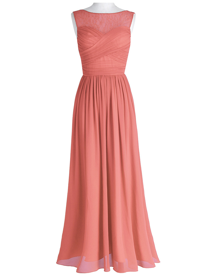 TiaoBug Coral Apricot Women Ladies Chiffon Lace Bridesmaid Dress ...