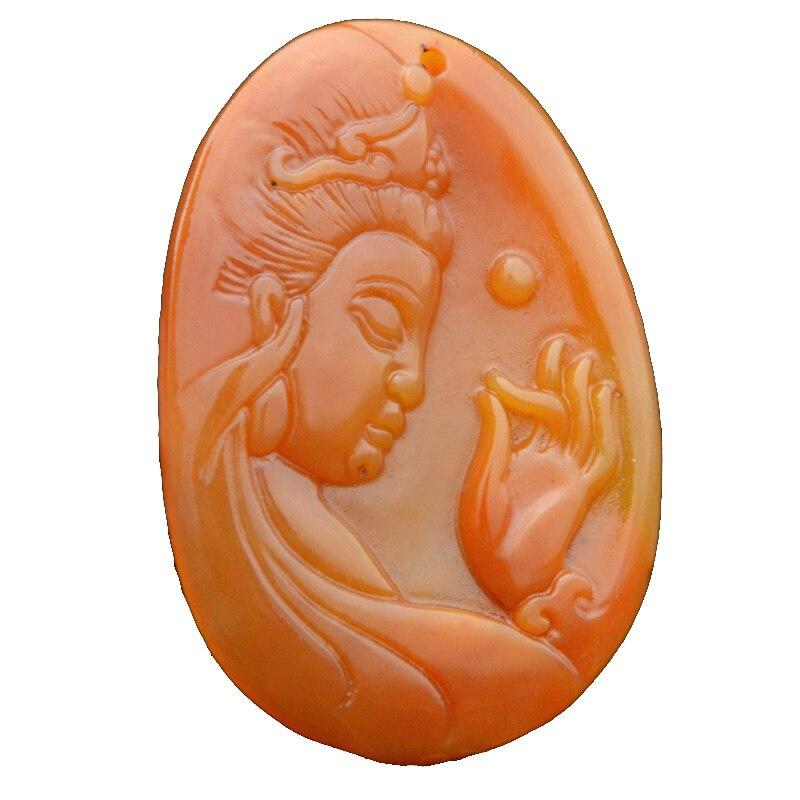 Drop Shipping Sculpté À La Main YunNan HuangLong Jade Guan Yin Bouddha Pendentif Jade Pierre Collier Chanceux Amulette Avec La Chaîne Cadeau