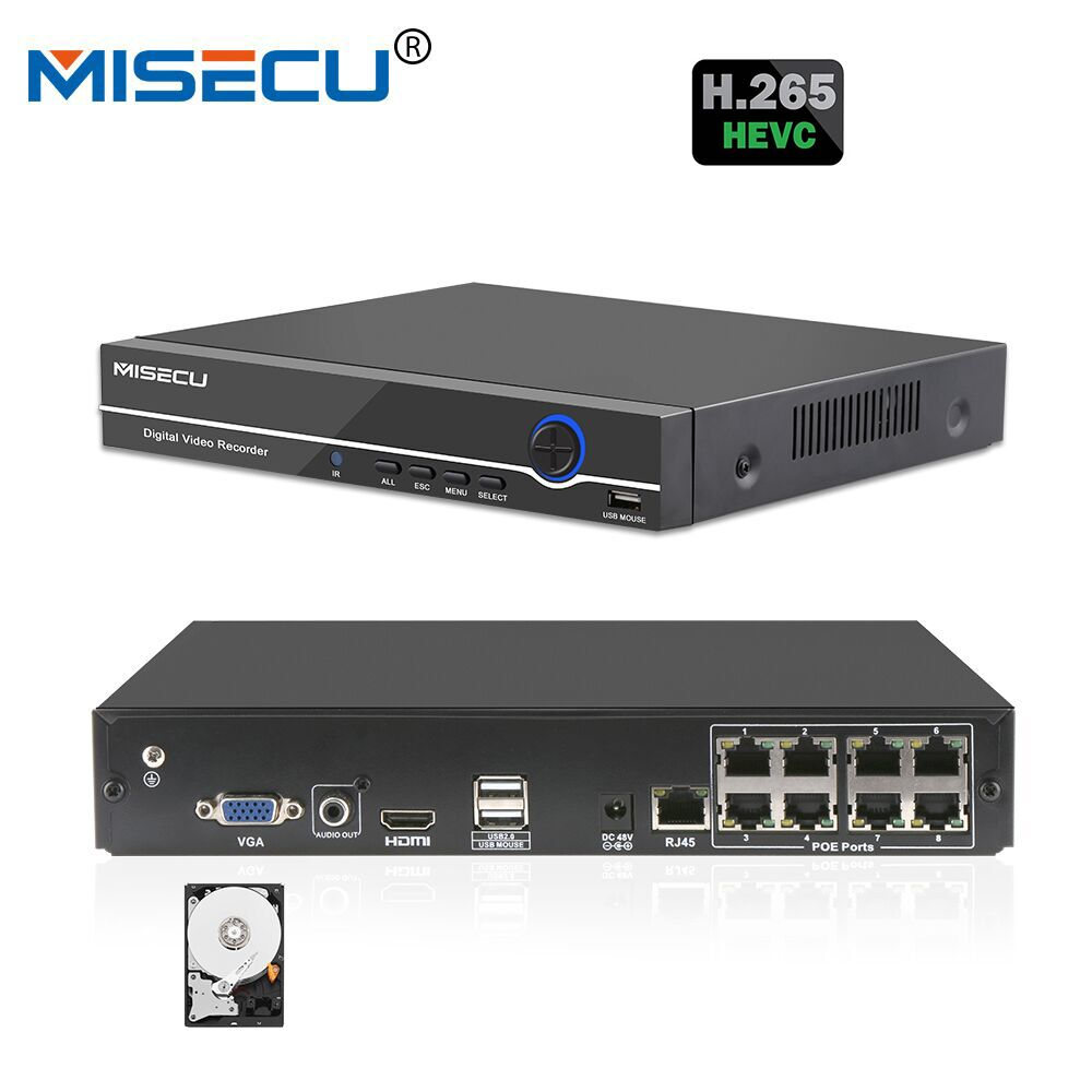MISECU 4CH 8CH 1080P 48V POE NVR XMEYE 802.3af P2P ONVIF Network Video Recorder Full HD 2.0MP for POE IP Camera CCTV Security