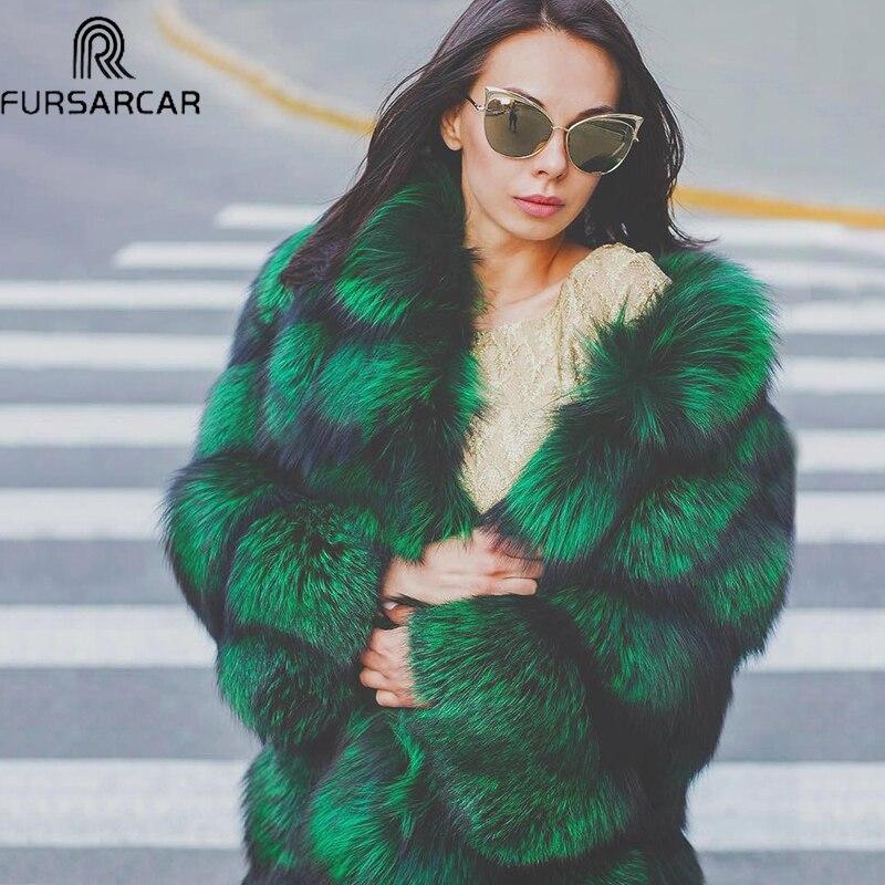 FURSARCAR 2019 nouveau réel manteau de fourrure femmes hiver mode véritable fourrure courte femme veste épaisse Natrual manteau de fourrure de renard avec col de fourrure