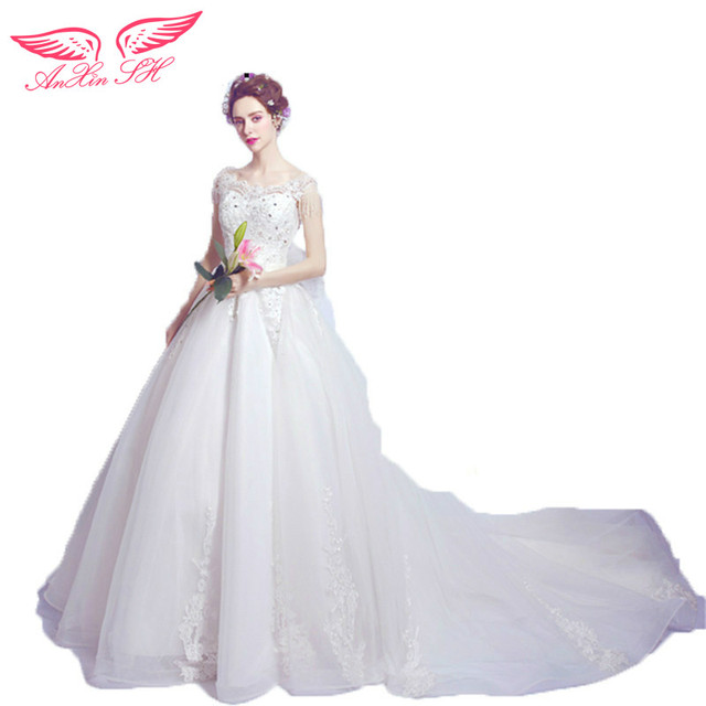 AnXin SH Luxury crystal lace wedding dress perspective sexy flower ...
