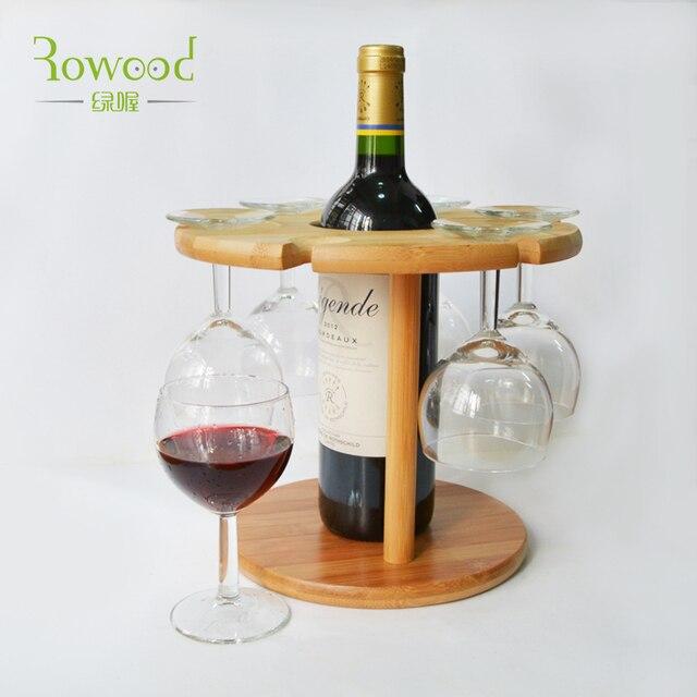 Decorative Bamboo Wooden Wine Rack Bottle 6 Glasses Stemware Holder