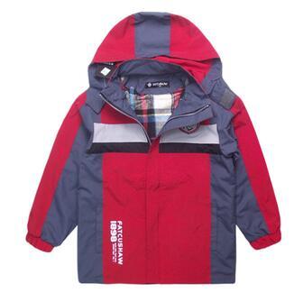 Boy Jacket Children's Windbreaker Zipper Shirt Hooded Weatherproof Outdoor Trench Coat blue hooded trench coat with drawstring waist