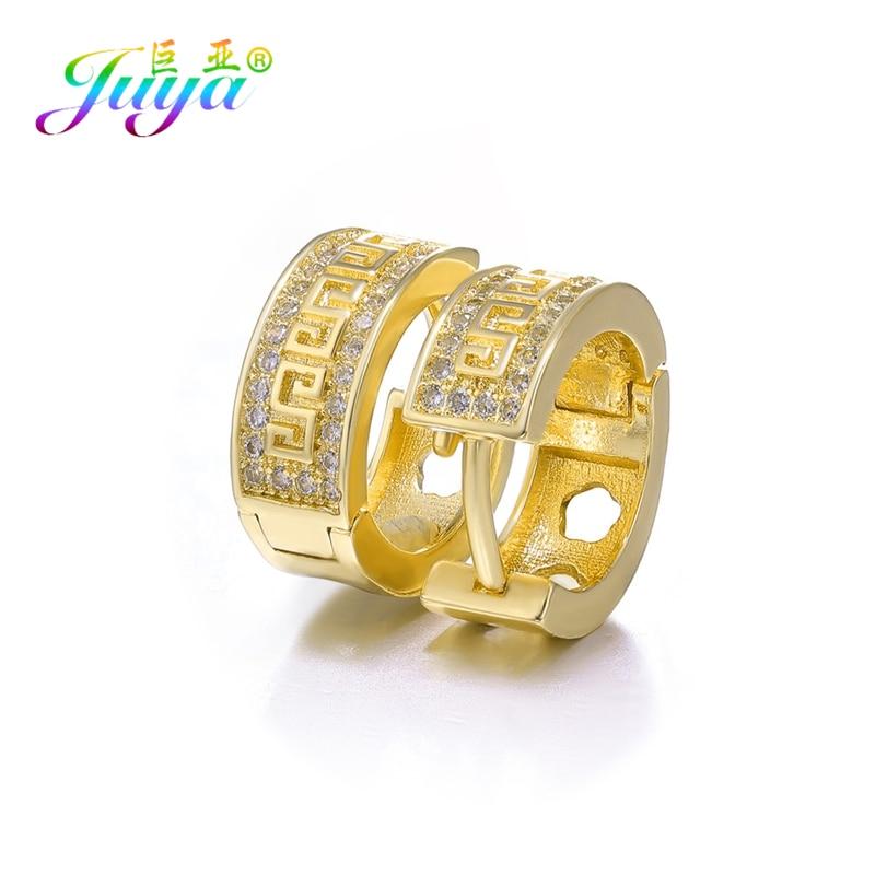 Juya Handmade Hoop Earrings Supplies Micro Pave Zircon Gold/Silver Color Earrings For Women Christams Evening Jewelry Earrings