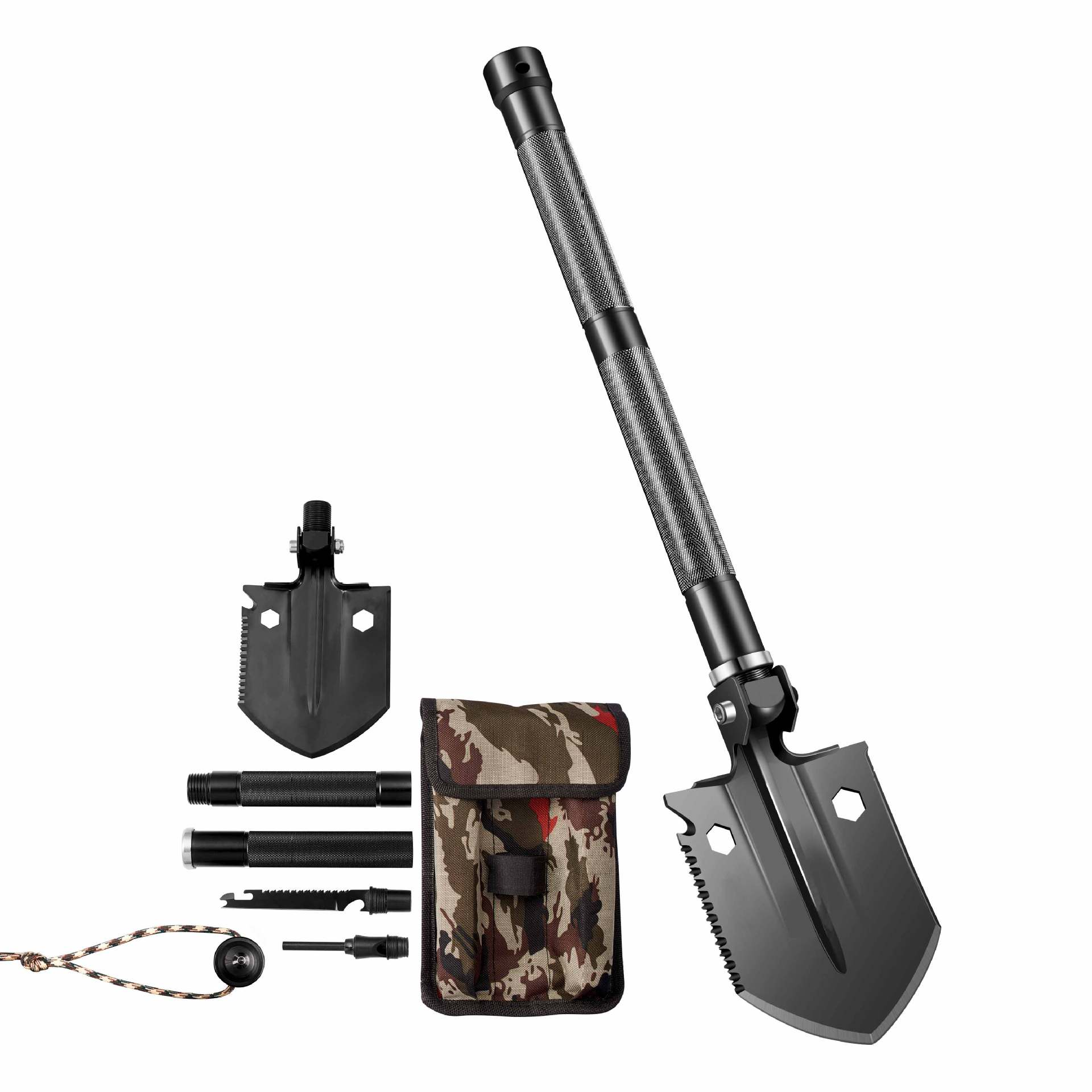HX Mini Engineer Shovel Outdoor Survival Multi-purpose Soldier Shovel Camping Fishing Foldable Military Emergency Shovel Weapon