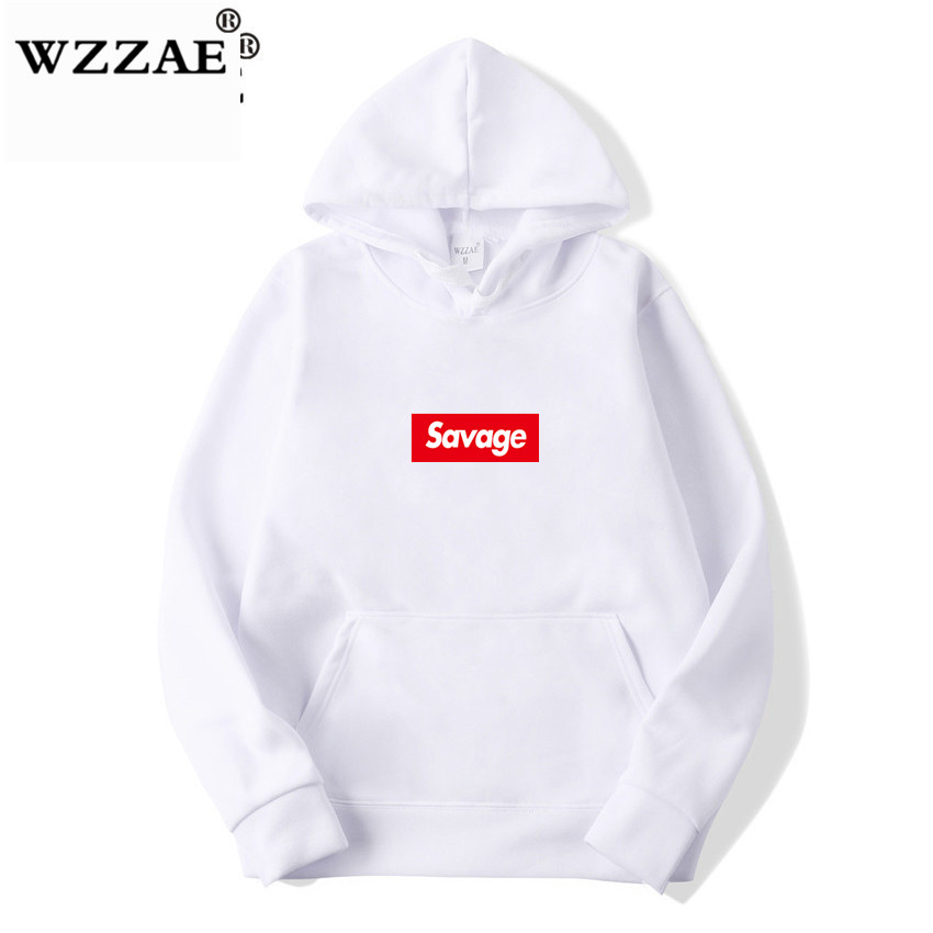 WZZAE 2019 New 21 Savage Street Wear Wool Cotton Suprem Hoodies Parody No Heart X Savage Hoodie Sweatshirt Men Women Hip Hop