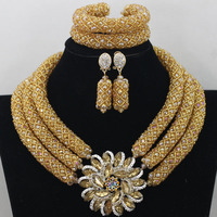 Fabulous Gold Crystal Beads Women Necklace Bridal Lace Jewlery Nigerian Wedding African Beads Jewelry Set Free