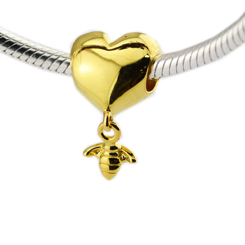 pandulaso heart bee charm sterling silver jewelry fit. Black Bedroom Furniture Sets. Home Design Ideas