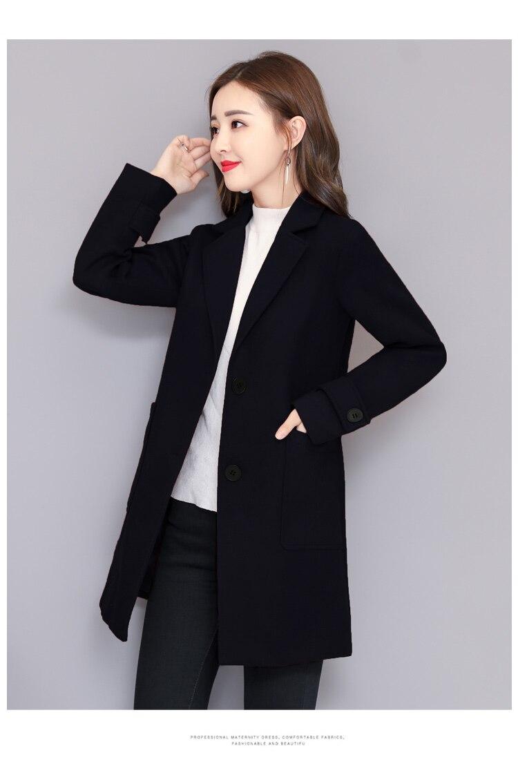 De Femme Veste Manches Coréenne Pleine Mélange bourgogne Mode Solide Longue Laine Pourpre marine Nouvelle Manteau Pour Lâche Femmes Poitrine Unique Bleu FqP7x67Y