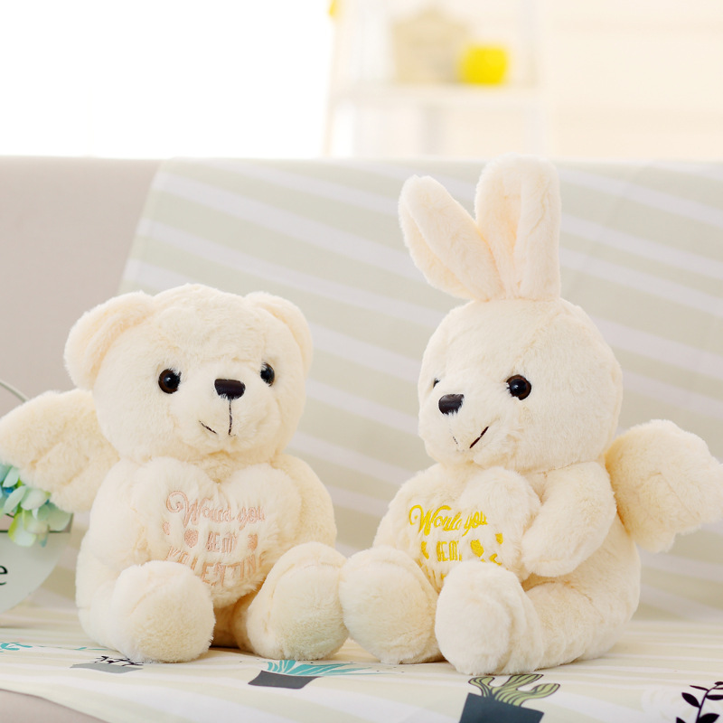 2018 new item angel teddy bear rabbit with wings plush toys white