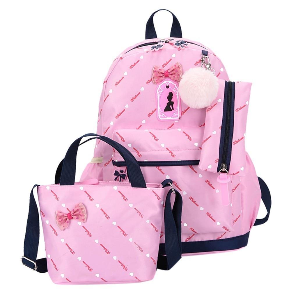 Women Bow Canvas Three-piece School Bag 12