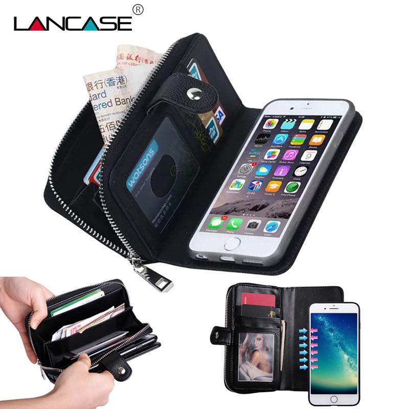 För iPhone 6s Case Funda Lyxplånbok Flip Lädermagnet Avtagbar - Reservdelar och tillbehör för mobiltelefoner - Foto 1