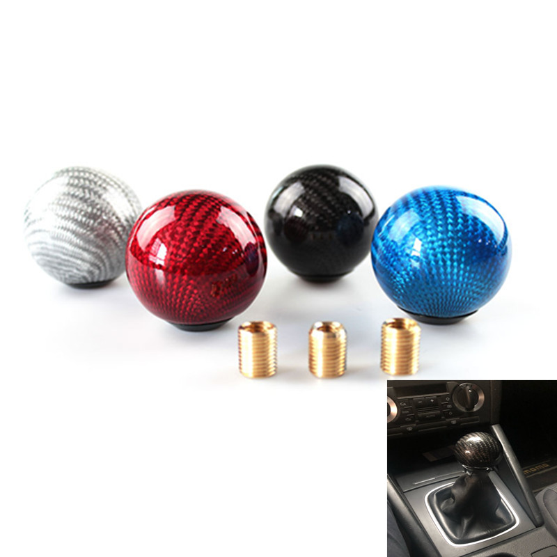 Carbon Fiber Round Ball Car Gear Shift Knob Shifter Lever Manual Transmission