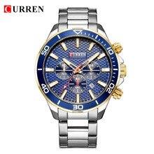 メンズ腕時計トップブランドの高級ファッションビジネス石英ステンレス鋼腕時計カレンクロノグラフと日付レロジオmasculino