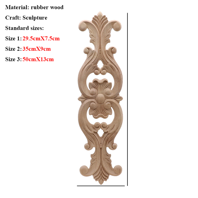 Unpainted Wood Oak Carved Wave Flower Onlay Decal Corner Applique for Home Furniture Decor Decorative Wood Carved Long Applique 3