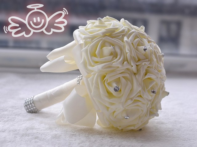 Lovely White Wedding Bouquet Bridal Bridesmaid Brooch Artificial Rose Flower Flowers Bouquets