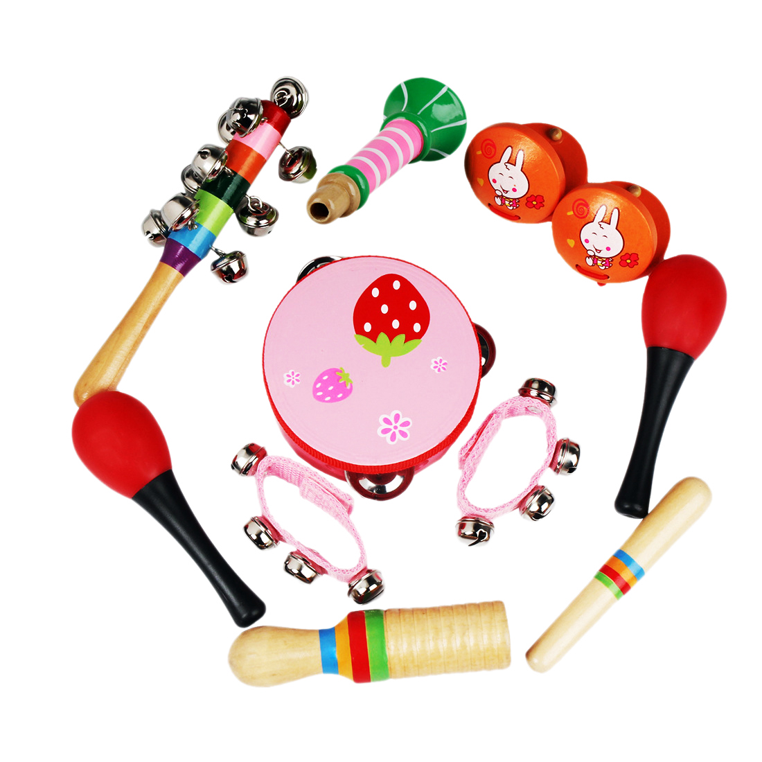 все цены на NFSTRIKE 10Pcs Early Education Musical Toys Set Support Children Learning Music Kit Toy Musical Instruments for Kids Baby 2018