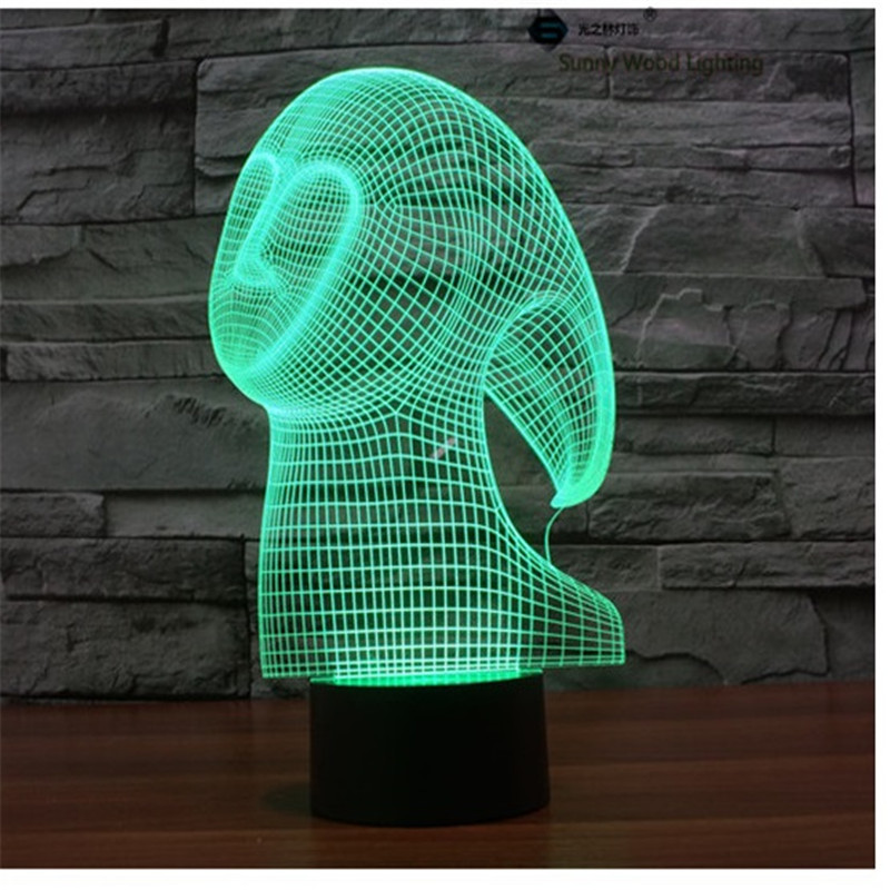 Ghost touch LED 3D lamp,Visual Illusion 7color changing 5V USB for laptop,Christmas cartoon toy lamp