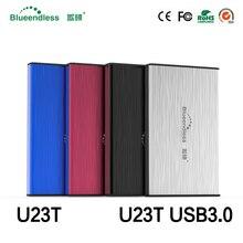 "(Navio de RU) de metal 2.5 ""Casos de Disco Rígido Sata 6 Gbps usb 3.0 hdd Caddy 7mm/9.5mm espessura Caixas de Gabinete HDD SSD blueendless"