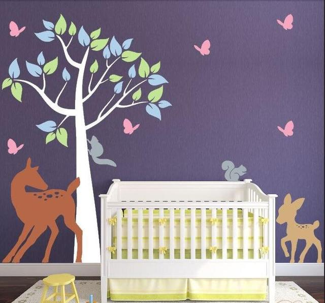 Diy Large Tree Wall Stickers Baby Room Nursery Decal With Colorful And Forest Animals