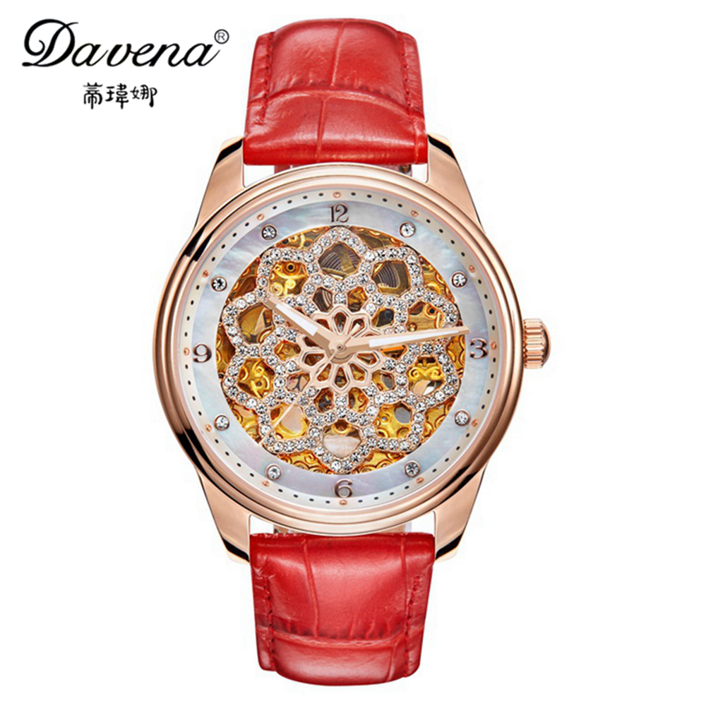 2017 Female Automatic Self-wind Wristwatch Women Dress Rhinestone Watches Fashion Casual Watch Luxury Brand Davena 31081 Clock binger genuine gold automatic mechanical watches female form women dress fashion casual brand luxury wristwatch original box